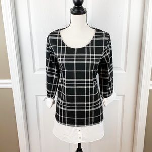 Plaid Scoop Neck Top with Semi Sheer Hem by Avenue